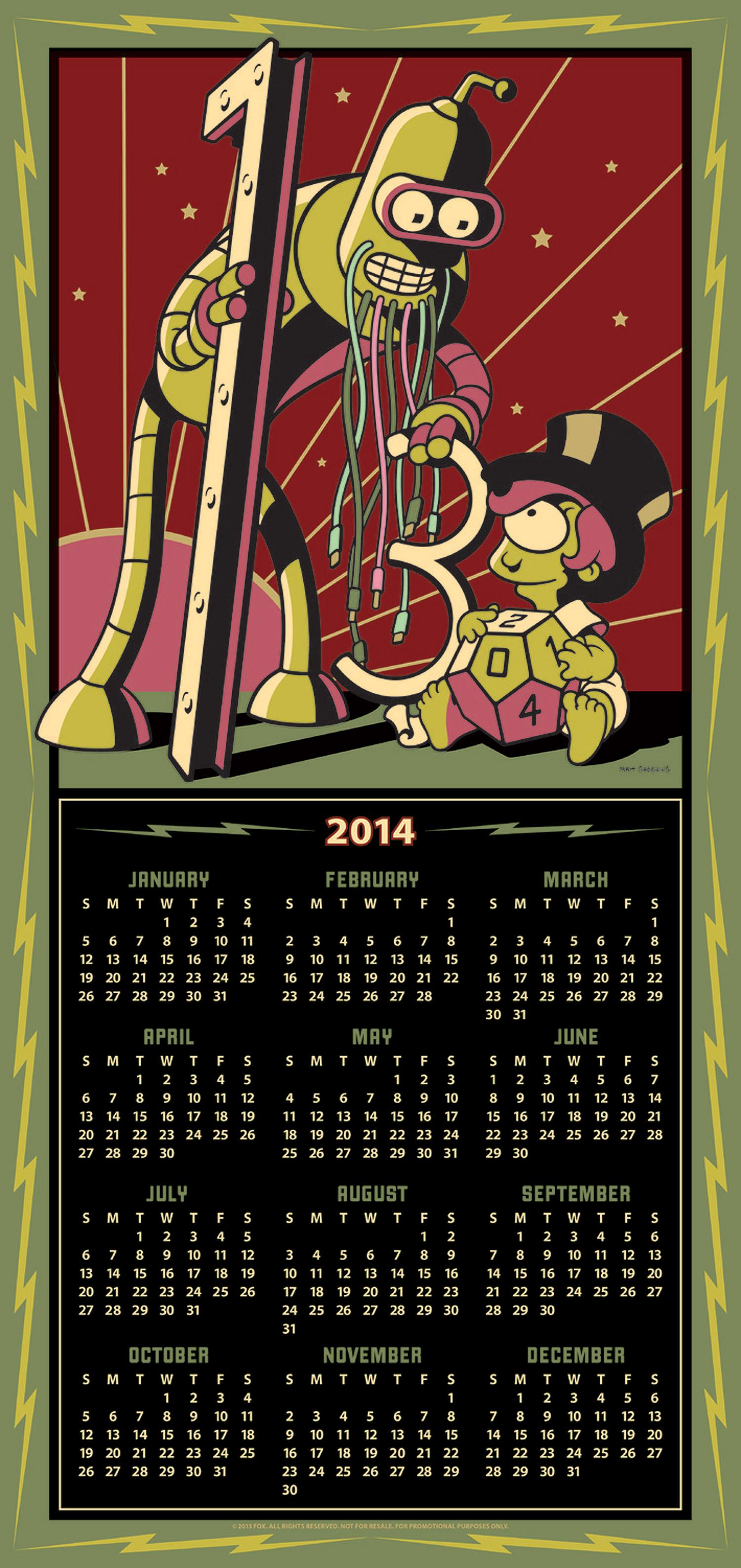 Futurama 2014/3014 Calendar Poster