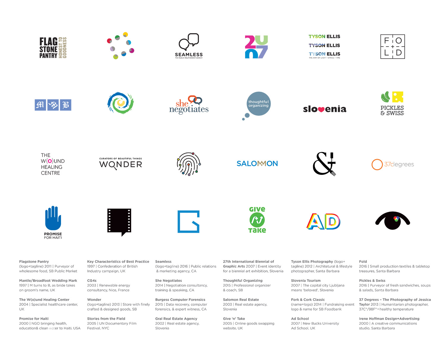 Logos and marks by Irene Hoffman,1997-2016